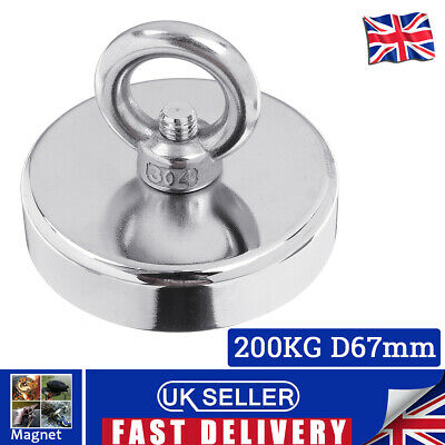 200KG Pull Salvage Neodymium Recovery 67mm Strong Treasure Hunting Fishing
