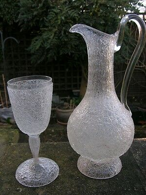 Antique Victorian Bohemian Moser Frosted Glass Claret Jug & Wine Glass Goblet