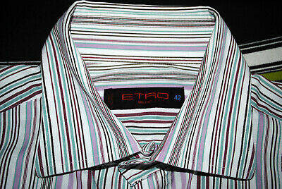 #3 ETRO Milano Pure Cotton Long Sleeved Striped Shirt - White Pink Green – 42