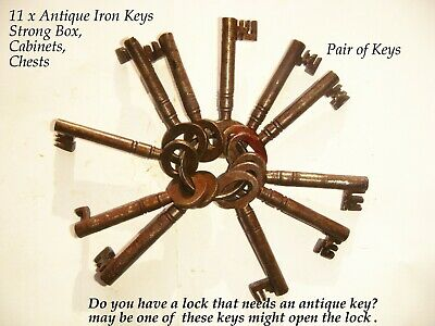 11 x Antique some Victorian other later iron Keys Strong box, padlocks etc