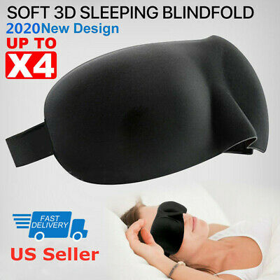 3D Eye Mask Soft Sponge Padded Blindfold Travel Rest Sleep Aid Shade Cover Black