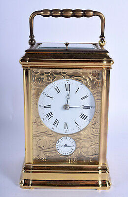 Lovely Rare L'Epee Gorge Cased Engraved Face Striking Repeating Carriage Clock