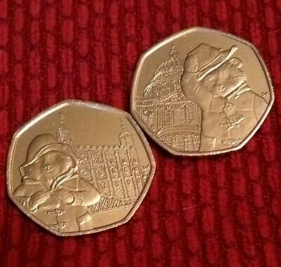 2 x 2019 50p coins Paddington Bear AT THE TOWER OF LONDON & ST PAULS fifty pence