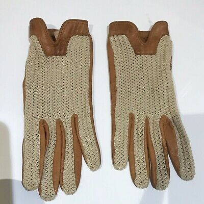 Dents Vintage Driving Leather And Crochet Gloves Tan Size 7