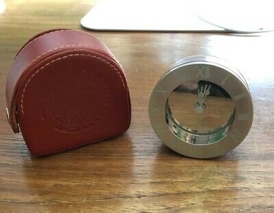 New - Travel Alarm Clock with Leather Case