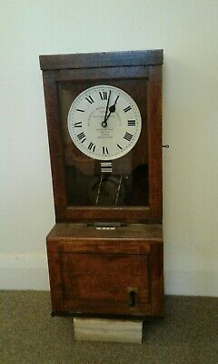 Antique oak case time recorder clocking in clock