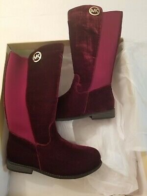 MICHAEL KORS EMMA LILY T GIRLS SUEDE PLUM (burgandy) BOOTS YOUTH SIZE 12 BIG KID