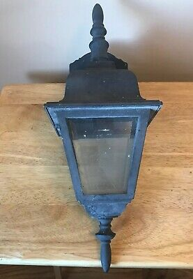 Vintage Black Outdoor Porch Wall Mount Sconce Light Fixture w Beveled Glass