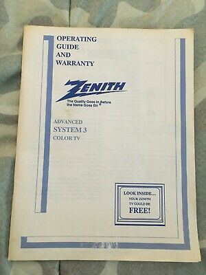 Zenith, Operating guide and warranty, Advanced system 3 color TV