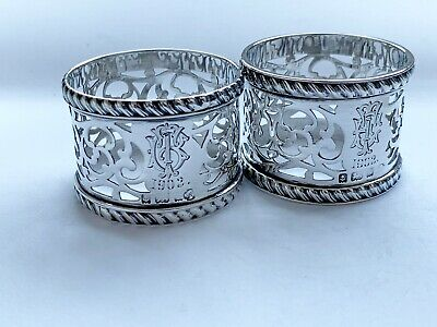 Stunning pair of antique solid sterling silver napkin rings Birmingham 1902