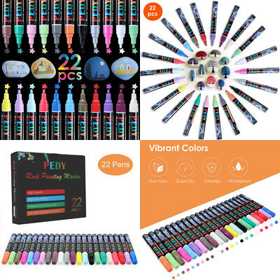 Pedy 22 pcs Permanent Metallic Marker Pen Waterproof for Stone Painting...