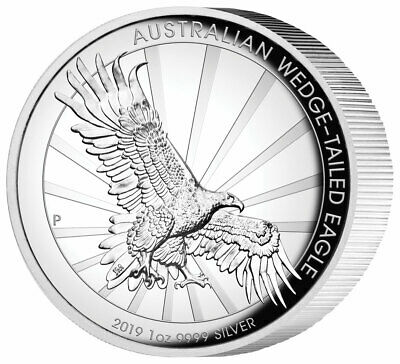 2019 Australia Wedged-Tailed Eagle 1 oz Silver HR Proof Capsuled Coin W//OMP//COA