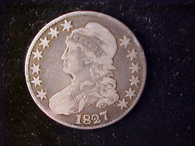 Bust 50 Cents 1827 Scratches Obverse