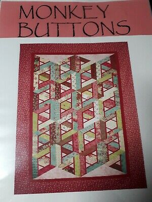 Monkey Buttons strawberry Jelly roll foundation pattern 77 Quilt Pattern only