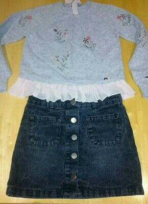 Next Girls Outfit Jumper And denim skirt Set Outfit Age 8