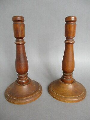 Pair of Vintage / Antique Hand-Turned Solid Oak Wood Candlesticks C.1930's 50's