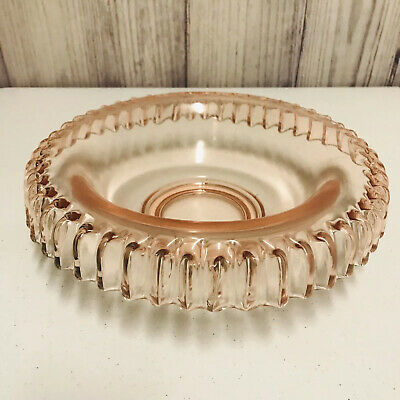 Pink Depression Glass Centerpiece Console Bowl Rolled Scalloped Edge