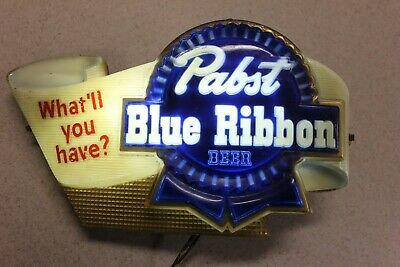 "Pabst Blue Ribbon Lighted Beer Sign ""What'll You Have"" -  Working Condition"