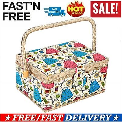 Home Cartoon Print Square Sewing Craft Box Household Storage Basket Painted Lid