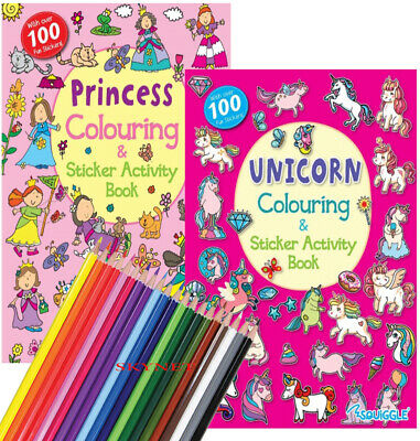 Unicorn Princess Kids Childrens Colouring Activity Sticker Book + 50 Stickers