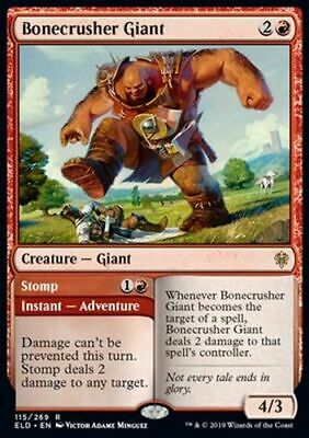 FOIL: Bonecrusher Giant // Stomp (Rare) - Throne of Eldraine *TOP Magic MtG*