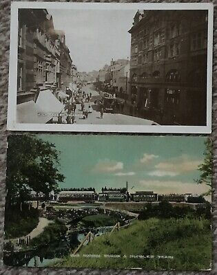 2 Vintage Postcards Swansea High Street Tram & Old Roman Bridge Mumbles Train