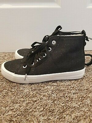 Bnwt H&M Girls Black Sparkly Glitter lace up canvas Boots Size 2.5