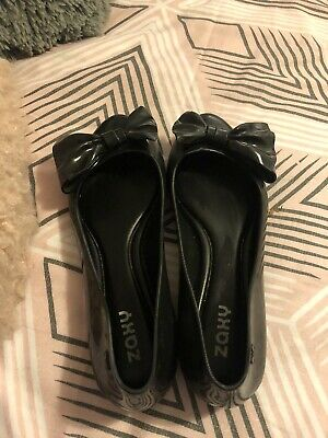Lovely Girls Black Zaxy Rubber  Bow Ballet Pumps Shoes Flats Size 3