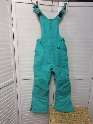 Lands End Winter Squall grow alongs Bib Insulated Snow Ski teal Pants Girl SZ 8