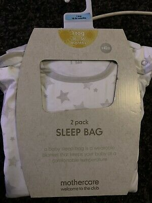 Mothercare Unisex Sleeping Bags 2 Pack Grey And White 18-36 Months 1 Tog
