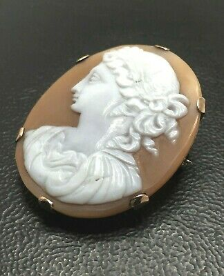 Antique 9ct Cameo Carved Shell Italian Victorian Edwardian Thick Rose Gold 10.6g