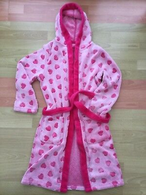 GIRLS DRESSING GOWN PINK WITH HEARTS - age 11-12 EXCELLENT UNDAMAGED