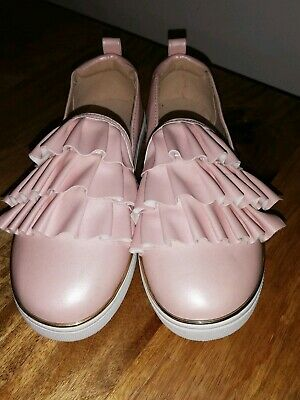River Island Girls pink ruffle slip on plimsolls size 2