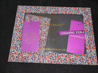BNIB GIANNI FERAUD CARD HOLDER WALLET With Socks In Gift Box Set RRP £120