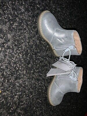 Girls Silver Boots Mothercare Size 4 Infant Toddler Zip Fastening