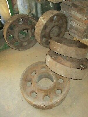 "Cannon wheels antique cast iron 18"" dia x 4 1/2"" wide 6 1/2"" centre - 5 avail"