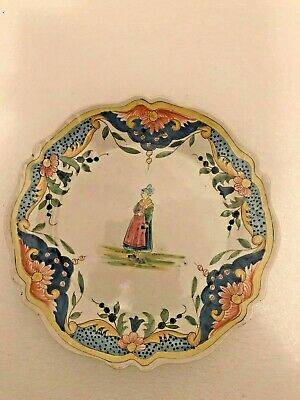 n2 ancienne assiette faïence Malicorne quimper ? plate french antic