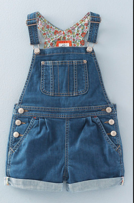 Mini Boden Girls denim dungaree shorts overall playsuit jumpsuit - 5-6 years