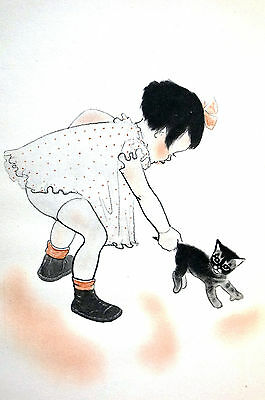 Newberry TODDLER CATCHING KITTEN by TAIL 1936 Cat Illustration BABY Print Matted