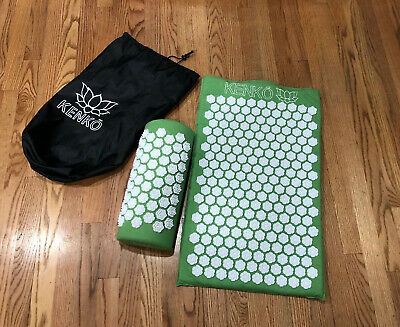 Kenko Accupressure Green Mat With Pillow relaxation Massage Neck Back