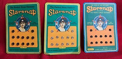Lot Of 3 Vintage Starsnap Snaps, Black & Silver, Size 4/0, Columbia Fastener Co.