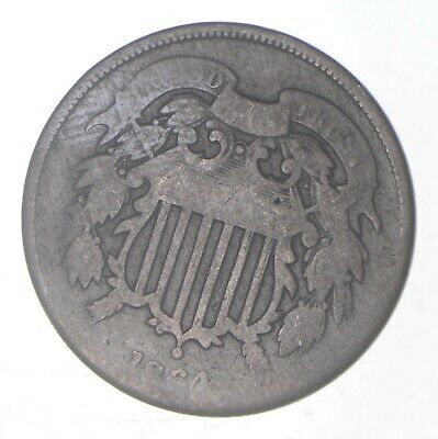 1864-1873 2 Cent Piece Old Antique Money Two Cent CULL Coin 1 Early U.S