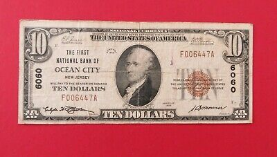 1929 $10 First National Bank of Ocean City NJ National Currency Charter 6060-Ten