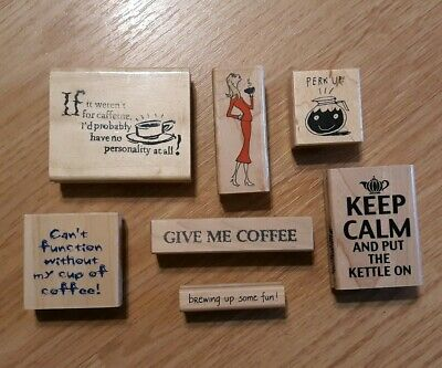 7 Wooden RUBBER STAMPS - all COFFEE related - different sizes