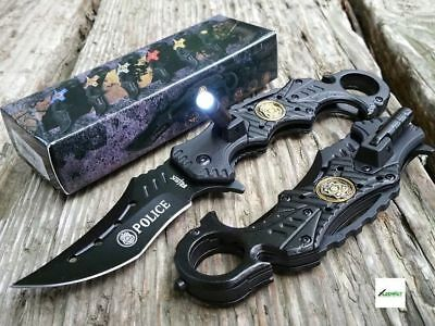 """VERY COOL 9.0"""" spring assist BLACK POLICE KARAMBIT RESCUE KNIFE W LED FLASHLIGHT"""