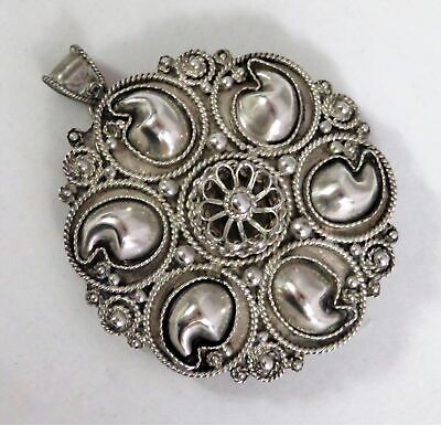 Beautiful Vintage ISRAEL Sterling Silver Filigree Brooch Pin Pendant 10.5 grams
