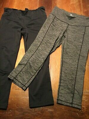 Lot of Two Pair ACTIVE Black Crop Capri Yoga Pants Leggings Old Navy/Gap Sz S