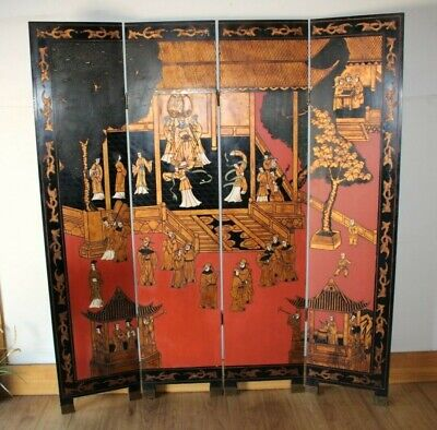 Antique Hand carved Japanese themed Geisha Screen with fine detail.
