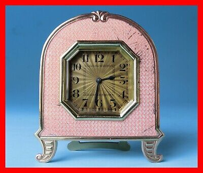 GUILLOCHE Clock PINK  enamel - Runs good