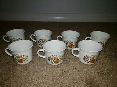 Set of 7 Corelle by Corning Ware 'Indian Summer' Lilly Coffee-Tea Cups-Mugs
